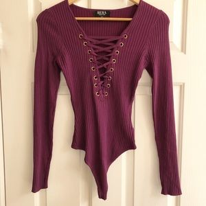Tops - Ribbed lace up bodysuit